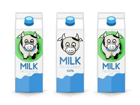 Three milk carton on a white background with a picture of a cow