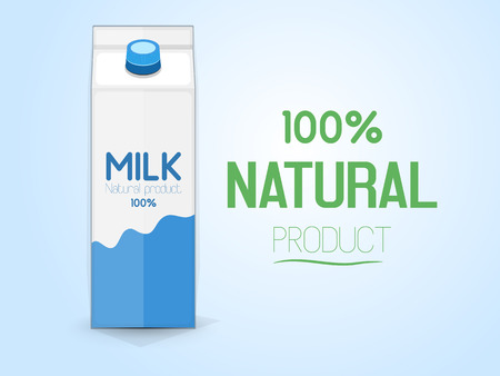 Milk package, front view. Inscription 100% natural product. Vector illustration Illustration