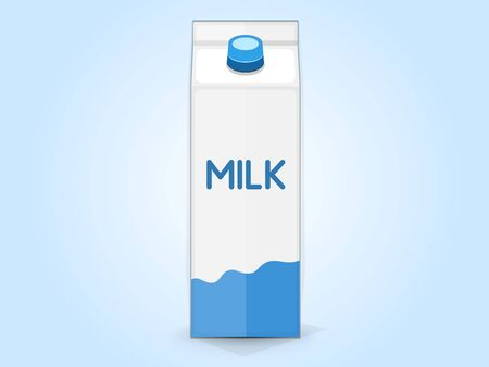 Carton of milk, front view. Vector illustration