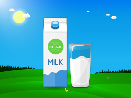 Fresh farm products. Carton and glass of milk on the background of a country landscape with green meadows, blue sky and bright sun. Vector illustration