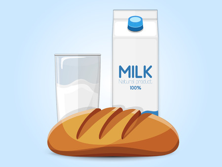Fresh farm products. Carton, glass of milk, bread on the blue background. Vector illustration
