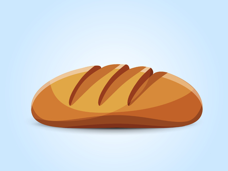 crispy loaf of wheat bread. On a light blue background. Vector illustration