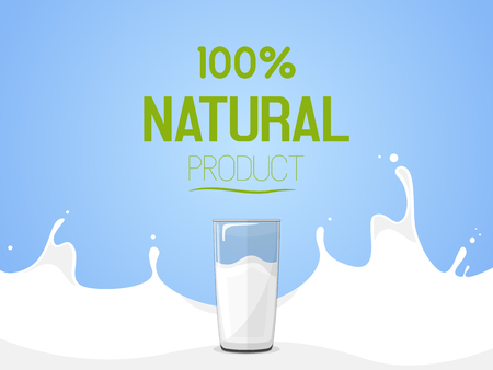 Glass of milk, front view. Inscription 100% natural product. Vector illustration