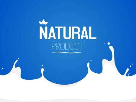 milk splash. Inscription natural product. Vector illustration Illustration