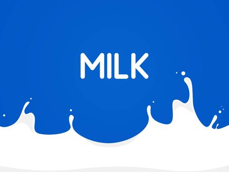 white milk splash. Inscription milk. Vector illustration