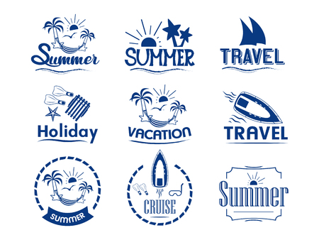 set of summer logos on summer holidays, weekend, travel, sea cruise