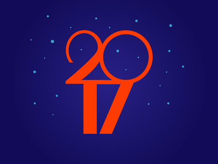 Vector illustration. Happy New Year 2017. dark blue background Illustration