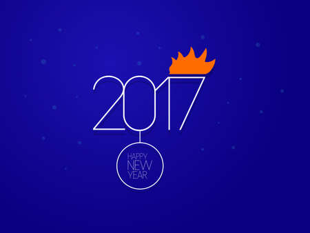 Vector illustration. Happy New Year 2017. dark blue background Illustration