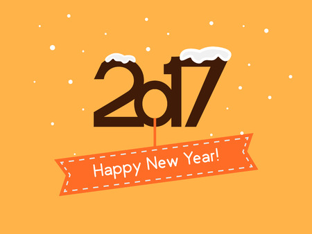 Vector illustration. Happy New Year 2017. falling snow