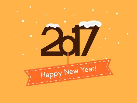 Vector illustration. Happy New Year 2017. falling snow