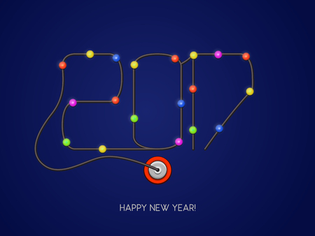 plugged: Happy New Year 2017 in the form of a garland. Cord with lights plugged into a power outlet. Vector illustration