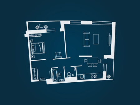 drawing of the layout of the apartment with furniture. Kitchen, living room, bedroom and balcony. Vector illustration of top view