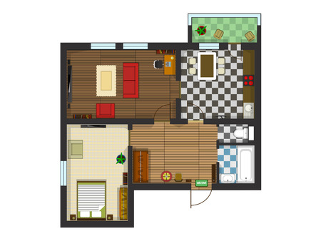 Plan of the apartment with furniture. Kitchen, living room, bedroom and balcony. Vector illustration of top view
