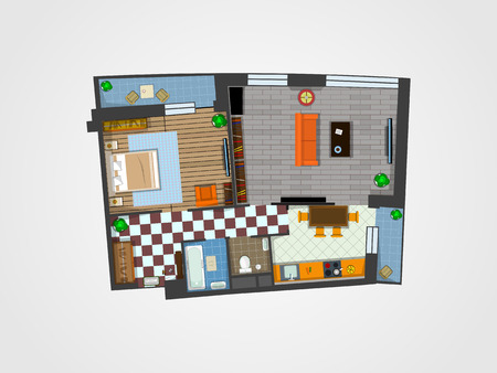the layout of the apartment with furniture. Kitchen, living room, bedroom and balcony. Vector illustration of top view