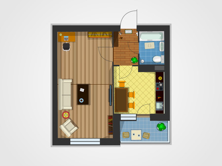 apartment suite: Plan of the apartment with furniture. Kitchen, living room, and balcony. Vector illustration of top view