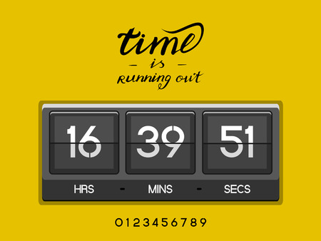 Countdown Timer for the website. Square section. Hours, minutes, seconds. gold background. Stock inscription time is running out, lettering
