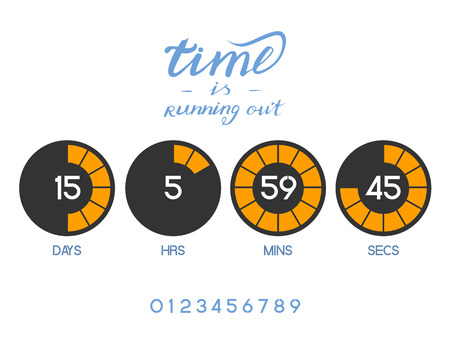 running out of time: Countdown Timer for the website. Round section. Days, hours, minutes, seconds. white background. Stock inscription time is running out, lettering Illustration