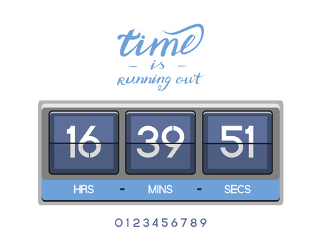 Countdown Timer for the website. Square section. Hours, minutes, seconds. white background. Stock inscription time is running out, lettering Illustration