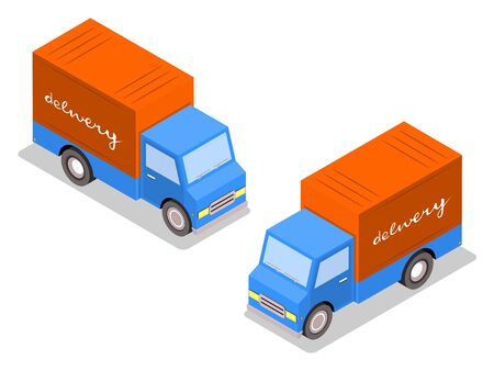 City trucks for distribution of goods. Cargo delivery. Cars isometric. on both sides.