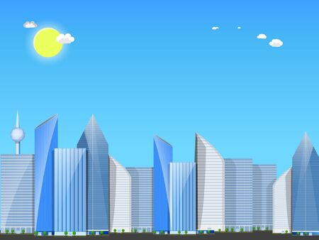 Day city landscape. Skyscrapers against blue sky with the sun and small clouds.