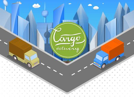 Delivery of goods in urban trucks. Isometric cars, the city of skyscrapers with the inscription Hand - Cargo Delivery. White abstract background with halftones Illustration