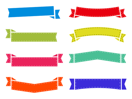 set of flat ribbons, stickers without label. decoration stripes