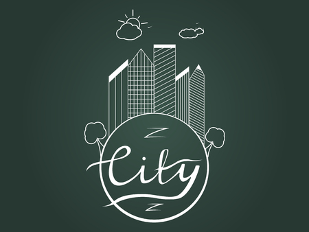 illustration of the city. Business center with skyscrapers on the planet earth with calligraphic inscription city. Lettering. Sun and clouds. Contour,  sketch. Stock Photo