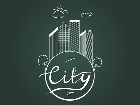 illustration of the city. Business center with skyscrapers on the planet earth with calligraphic inscription city. Lettering. Sun and clouds. Contour,  sketch. Illustration