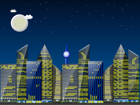 Day city landscape. Skyscrapers against blue sky with the sun and small clouds. Flat illustration