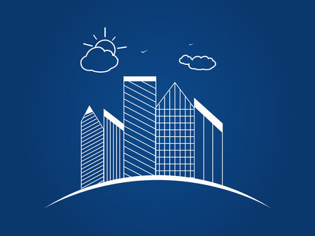 illustration of the city. Business center with skyscrapers on the planet earth.  Sun and clouds. Contour,  sketch.