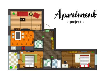 가구 아파트 프로젝트. 주방, 거실, 두 개의 침실과 발코니. 필기 비문. 상위 뷰의 그림