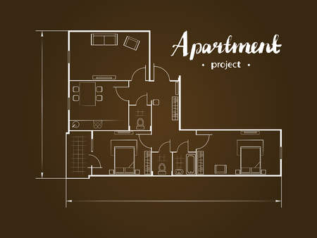 penthouse: Apartment project with furniture. Kitchen, living room, two bedroom and balcony. Handwritten inscription illustration of top view