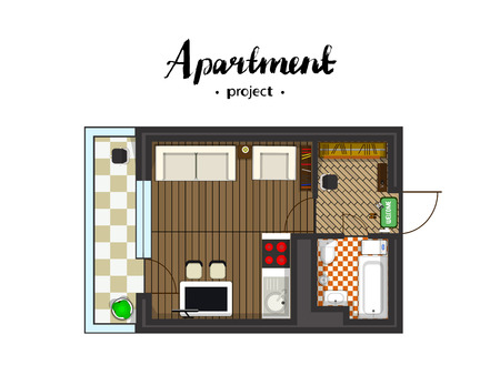 Apartment project with furniture. Studio, kitchen with living room, and balcony. Handwritten inscription illustration of top view Illustration