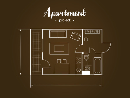 apartment suite: Apartment project with furniture. Studio, kitchen with living room, and balcony. Handwritten inscription illustration of top view Illustration