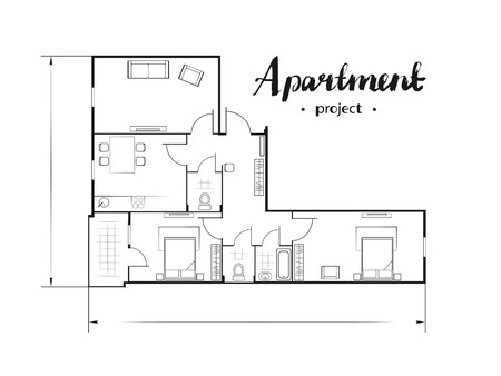 apartment suite: Apartment project with furniture. Kitchen, living room, two bedroom and balcony. Handwritten inscription. Vector illustration of top view. White background