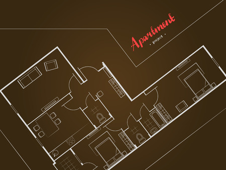 Cover design. Apartment project with furniture. Kitchen, living room, two bedroom and balcony. Handwritten inscription. Vector illustration of top view.