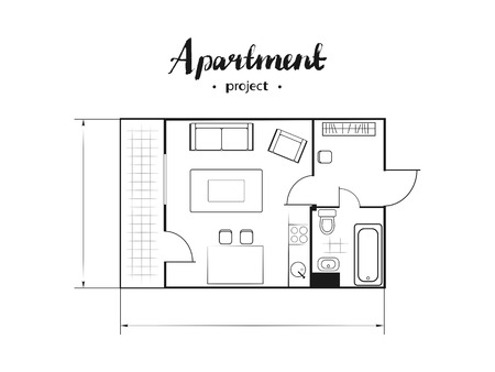 Apartment project with furniture. Kitchen, living room, two bedroom and balcony. Handwritten inscription. Vector illustration of top view. White background