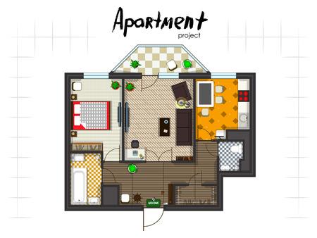 아파트 프로젝트. 가구와 바닥 계획. 주방, 거실, 두 개의 침실과 발코니. 필기 비문.
