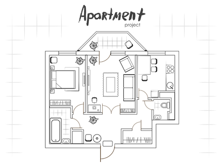 apartment suite: Apartment project. Floor plan with furniture. Kitchen, living room, two bedroom and balcony. Handwritten inscription. Illustration