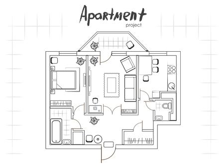 Apartment project. Plattegrond met meubilair. Keuken, woonkamer, twee slaapkamers en een balkon. Handgeschreven inscriptie.