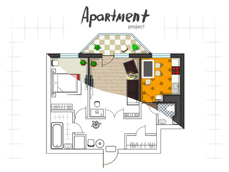 Apartment project. Floor plan with furniture. Kitchen, living room, two bedroom and balcony. Handwritten inscription. The combination of drawing and 3d. Illustration