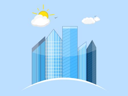 illustration of the city. Business center with skyscrapers. Sun and clouds. Front view