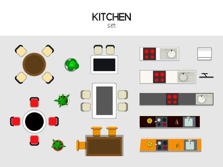 estufa: Juego de muebles para el kithen, vista desde arriba. Mesa con sillas, cocina con fregadero y la estufa, nevera, TV