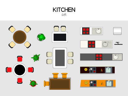 fridge: set of furniture for the kithen, top view. Table with chairs, kitchen with sink and stove, fridge, TV