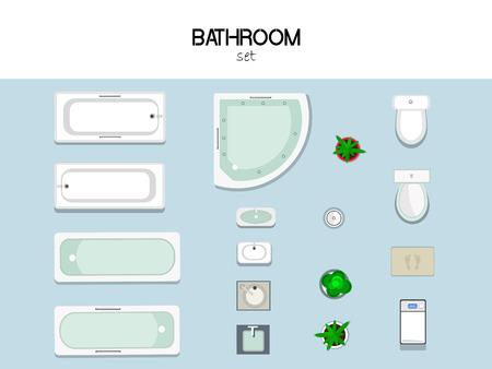 Reihe von Möbeln für das Bad mit Badewanne, Waschbecken, Toilette, Waschmaschine, Müll und Matte, Draufsicht. Vektorgrafik