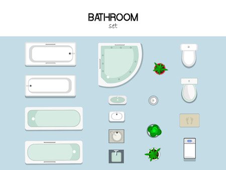 floorplan: set of furniture for the bathroom with bath, sink, toilet, washing machine, trash and mat, top view.