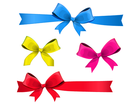 set of multicolored bows with ribbons. isolated on white background