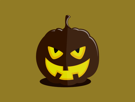 Halloween pumpkin with a cunning evil devils face on plain background