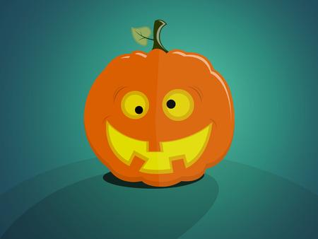 Halloween pumpkin with a crazy good face on plain backdrop Illustration
