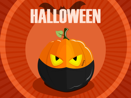 Halloween pumpkin ninja with a bandage on the face for a stylish vintage background with a bat